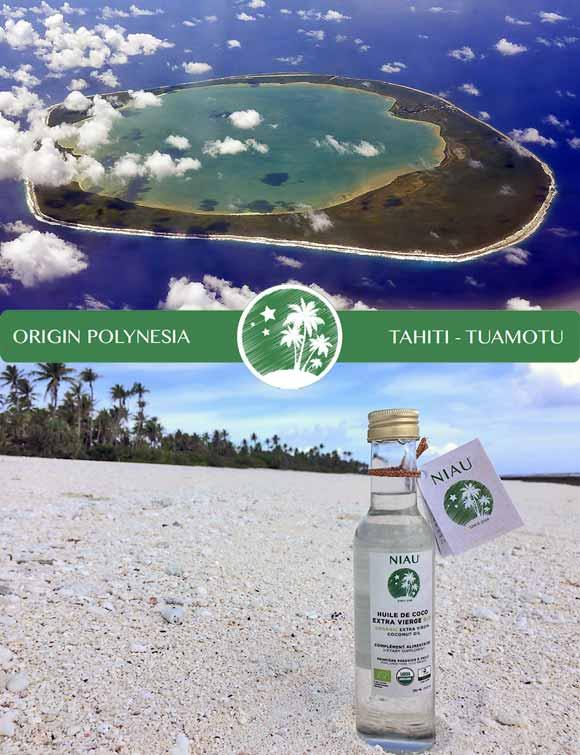 L'huile de Coco Extra Vierge Bio Niau® sur son lit de corail blanc de cet atoll des Tuamotu ©NiauOrganic