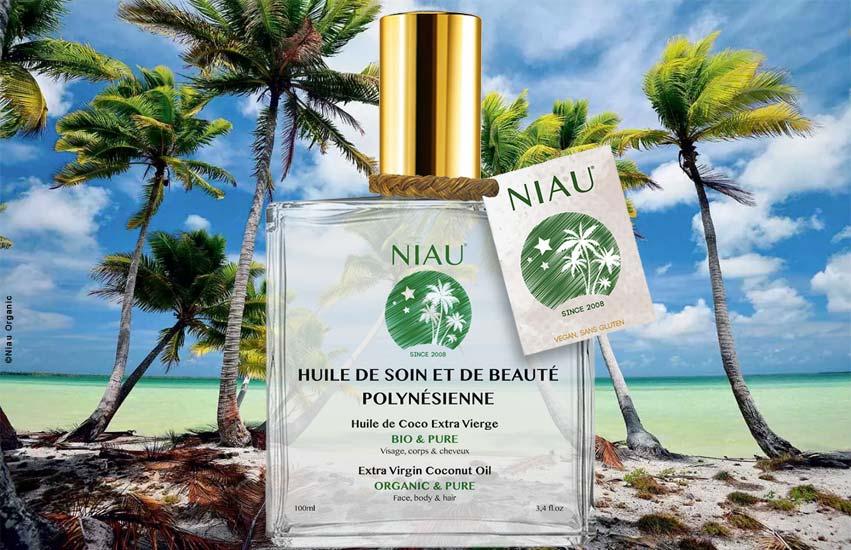 L'huile de Coco Extra Vierge Bio Niau® dans sa cocoteraie au bord du lagon de Niau Crédit photo ©NiauOrganic