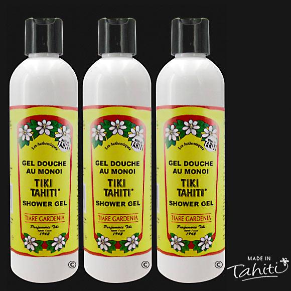 Le Gel Douche au Monoï Tiki Tahiti 250 ml parfum Tiaré est fabriqué à Tahiti-Faaa par la Parfumerie Tiki depuis 1942.
