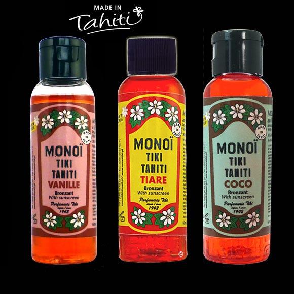 Le trio de choc ! Ces Monoï Tiki Tahiti en flacons nomades 60 ml sont fabriqués à Tahiti-Faaa par la Parfumerie Tiki depuis 1942. Ces 3 Monoï Tiki contiennent un indice de protection solaire 3 !