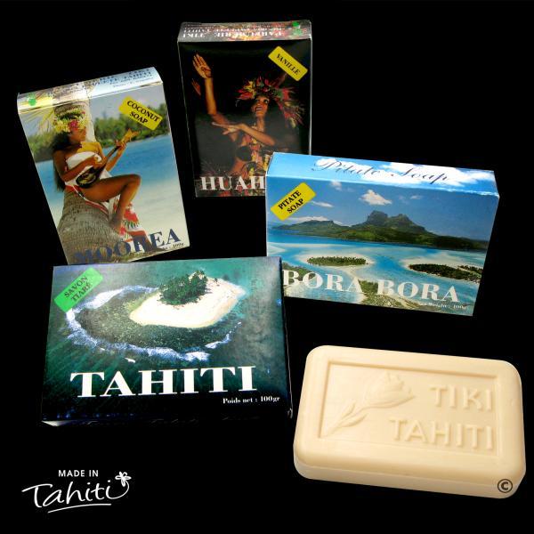 Ces 4 savons contiennent 30% de Monoï de Tahiti Appellation d'Origine. 4 parfums différents : Coco, Vanille, Pitaté (Jasmin) et Tiaré Tahiti bien sûr !!!