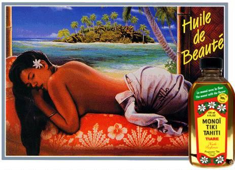 La gamme Tiki Tahiti est illustrée depuis toujours par ce visuel de Vahiné Tahiti des années 60.