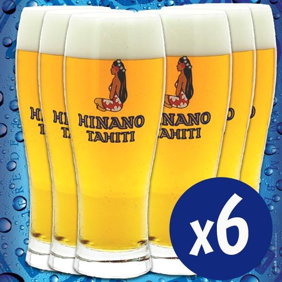 Hinano, la Bière de Tahiti, sans ses verres d'origine. Retrouvez tout le goût de cette bière polynésienne, entièrement fabriquée et conditionnée à Tahiti par La Brasserie de Tahiti.