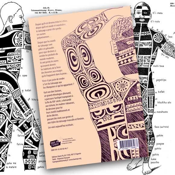 Extrait et dos de l'Art du Tatouage aux Îles Marquises par Karl von den Steinen.