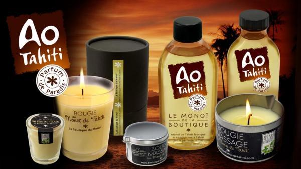 Ao Tahiti, le Monoï de La Boutique, Appellation d'Origine bien sûr, se décline en bougies, bougies de massage, et en huile de soins pour corps et cheveux.
