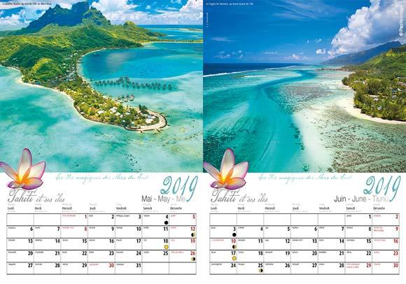 INTERIEUR CALENDRIER TAHITI ET SES ÎLES 2019
