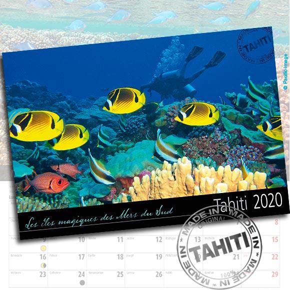 RECTO CALENDRIER TAHITI ET SES ÎLES 2020 IMAGES SOUS MARINES