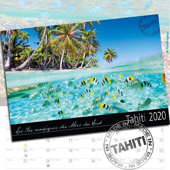COUVERTURE CALENDRIER TAHITI ET SES ÎLES 2020 IMAGES SOUS MARINES A5