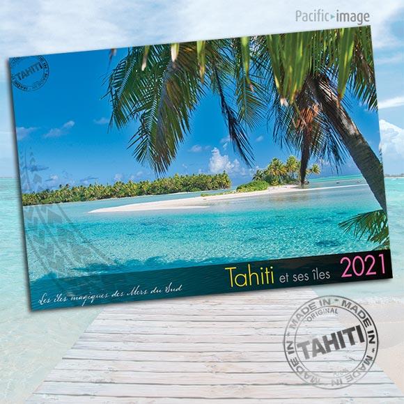COUVERTURE INTERIEUR CALENDRIER TAHITI ET SES ÎLES 2021 PAYSAGES A4