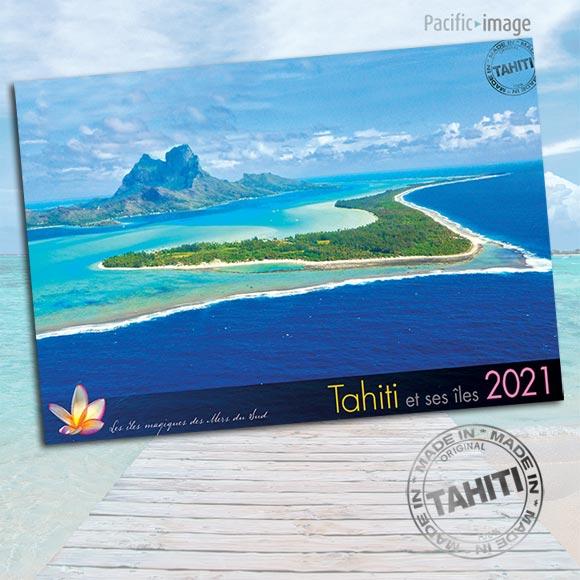 COUVERTURE INTERIEUR CALENDRIER TAHITI ET SES ÎLES 2021 VUES DU CIEL A4