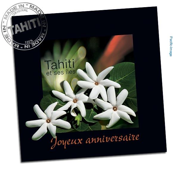 Elégante carte format carré accompagnée de son enveloppe et entièrement réalisée à Tahiti par Pacific-Image.