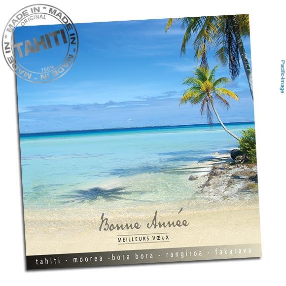 Elégante carte de voeux format carré accompagnée de son enveloppe et entièrement réalisée à Tahiti par Pacific-Image.