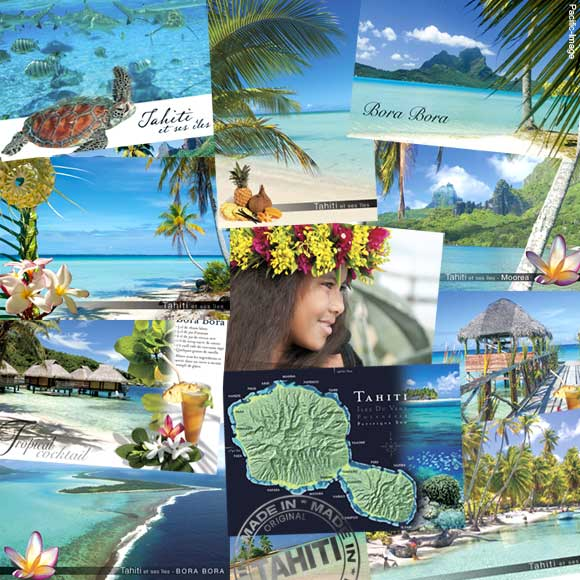 Collection Pacific-Image de cartes entièrement réalisées à Tahiti.