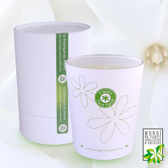 Bougie au Monoi Parfumée aux Fleurs de Tiare Tahiti avec son coffret cadeau