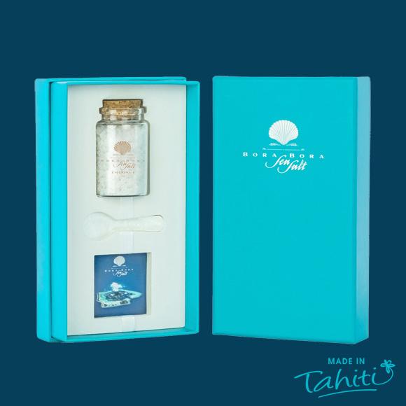 Sel de Bora Bora Sea Salt épicé à la Noix de Coco de Tahiti, 100% naturel.