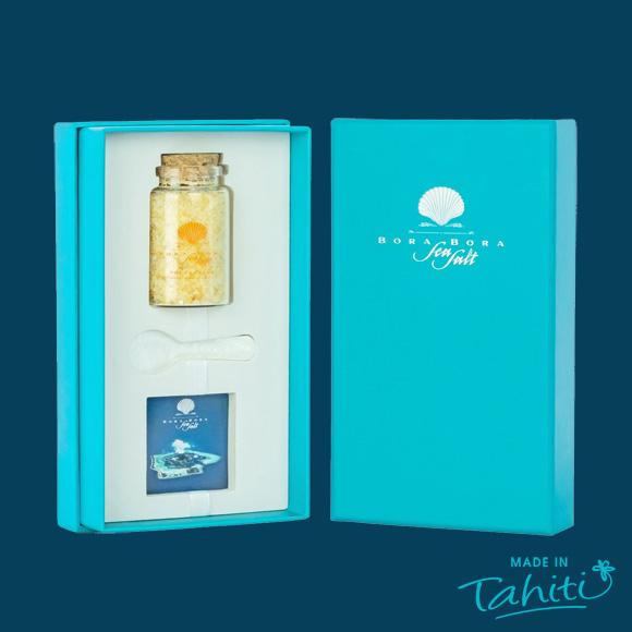 Sel de Bora Bora Sea Salt épicé au Gingembre et Curcuma de Tahiti, 100% naturel.