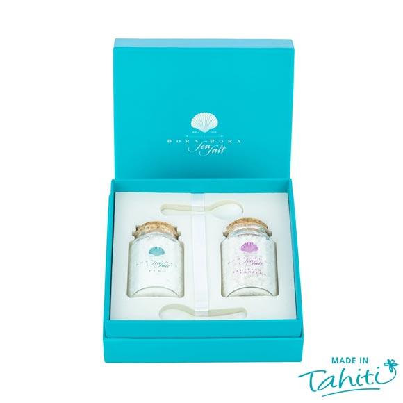 Coffret Duo Sels de Bora Bora Sea Salt : l'un est pur, l'autre parfumé à la Vanille de Tahiti, 100% naturel.