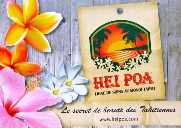 Hei Poa est une marque française créée en 1977. Hei Poa en langue tahitienne signifie « Couronne de fleurs rouges dans la vallée verdoyante »