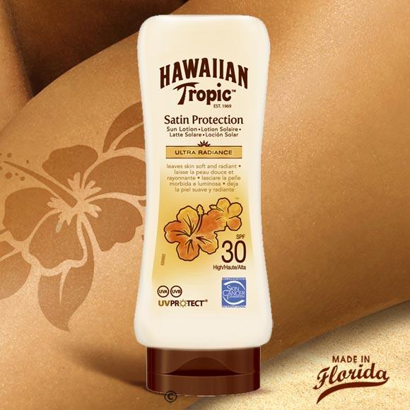 Packaging pratique Tete en bas, nouveau parfum exotique léger, nouvelle texture douce, à pénétration rapide, et non grasse, voici les 3 atouts de ce nouveau gardien Hawaiian Tropic à haute protection pour votre peau !