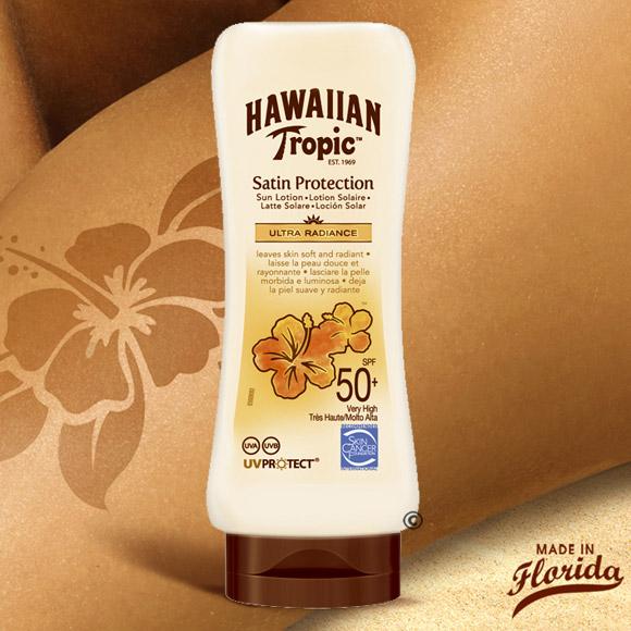 Packaging pratique Tete en bas, nouveau parfum exotique, nouvelle texture légère et douce, à pénétration rapide, et non grasse, voici les 3 atouts de ce nouveau gardien Hawaiian Tropic à très haute protection pour votre peau !
