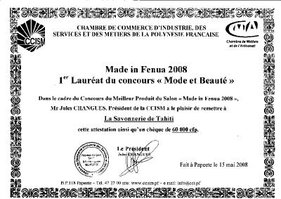 La Savonnerie de Tahiti une nouvelle fois recompensée pour ses travaux de recherches cosmétiques et ses innovations en produits de soins et de beauté.
