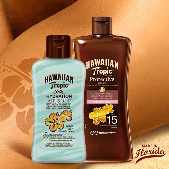 DUO HAWAIIAN TROPIC MINI HUILE SPF15+APRÈS SOLAIRE