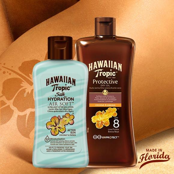 DUO HAWAIIAN TROPIC MINI HUILE SPF8+APRÈS SOLAIRE
