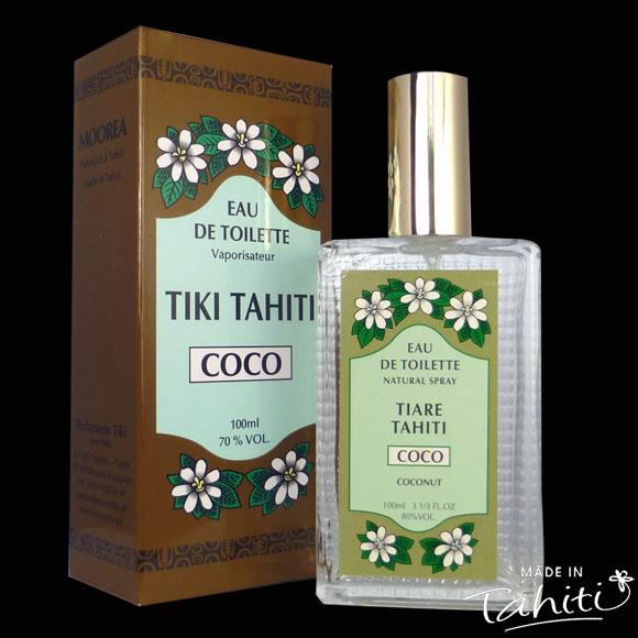 Un Classique des parfums polynésiens ! Cette Eau de Toilette Tiki Tahiti 100 ml au parfum Noix de Coco est fabriqué à Tahiti-Faaa par la Parfumerie Tiki et rencontre un énorme succès auprès des touristes comme de la population !