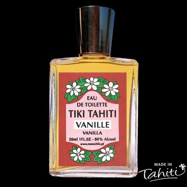 Un grand classique des parfums polynésiens ! Cette Eau de Toilette Tiki Tahiti 30 ml au parfum de la Vanille complète parfaitement le Monoï Vanille de la marque Tiki
