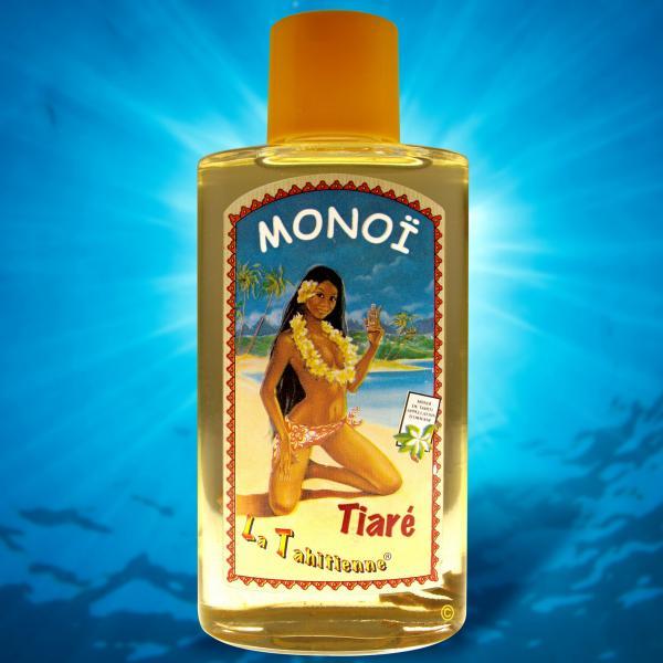 Le Monoï La Tahitienne, dont voici le flacon, marque fétiche de la Parfumerie Sachet, située à Papeete, se décline désormais en Eau de Tiaré Tahiti...