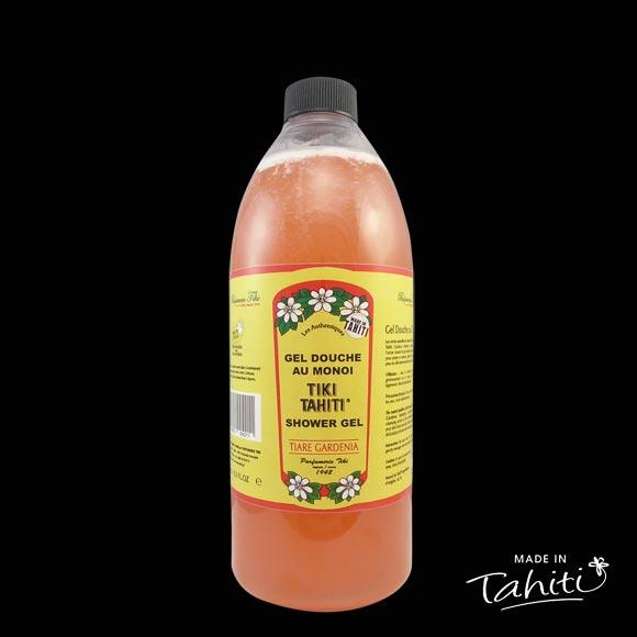 Ce Gel Douche au Monoï Tiki Tahiti 1 Litre parfum Tiare est fabriqué à Tahiti-Faaa par la Parfumerie Tiki depuis 1942.