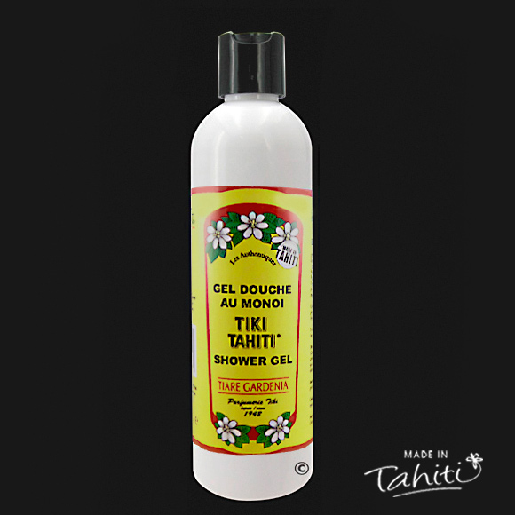 Ce Gel Douche au Monoï Tiki Tahiti 250 ml parfum Tiaré est fabriqué à Tahiti-Faaa par la Parfumerie Tiki depuis 1942.
