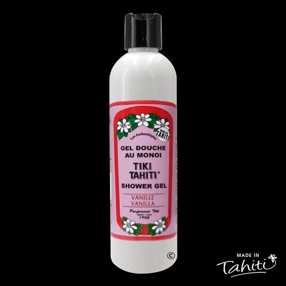 Ce Gel Douche au Monoï Tiki Tahiti 250 ml parfumé à la Vanille est fabriqué à Tahiti-Faaa par la Parfumerie Tiki depuis 1942.