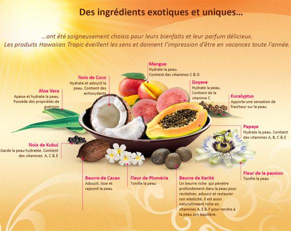 Des ingrédients exotiques et uniques composent les soins Hawaiian Tropic pour leurs bienfaits et leurs parfums.