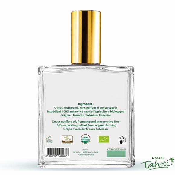 Dos du flacon cosmétique 100 mL de l'Huile de Coco Extra Vierge Bio Niau Organic ©NiauOrganic