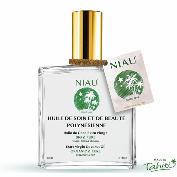 Huile de Coco Extra Vierge Bio Niau Organic en flacon cosmétique 100 mL ©NiauOrganic