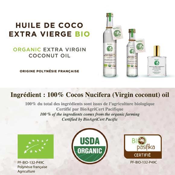 Les certifications Bio de l'Huile de Coco Extra Vierge de Niau Organic : du jamais vu en Polynésie.