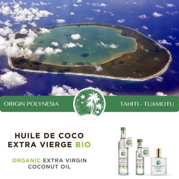 Atoll de Niau vu du ciel de l'Archipel de Tuamotu en Polynésie française.