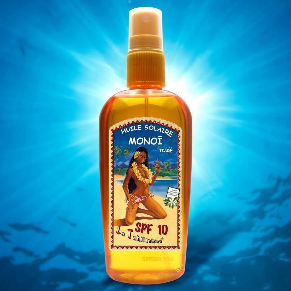 Ce flacon d'huile au Monoi de Tahiti, pratique avec son bouchon Spray, contient une légère protection UV SPF10.