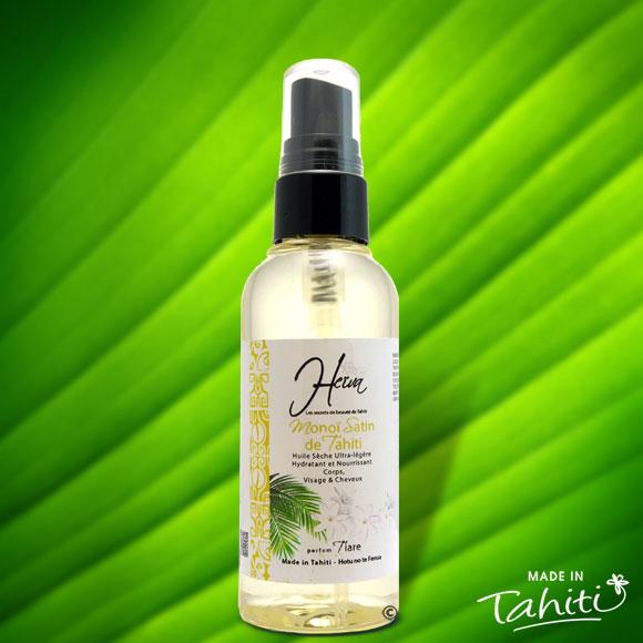 Cette huile de soin pratique avec son spray, ultra légère pour les peaux délicates et très fines, pénètre rapidement la peau pour la satiner sans effet de gras résiduel. Ce Monoï Satin contient 50 % de Monoï de Tahiti Appellation d'Origine.