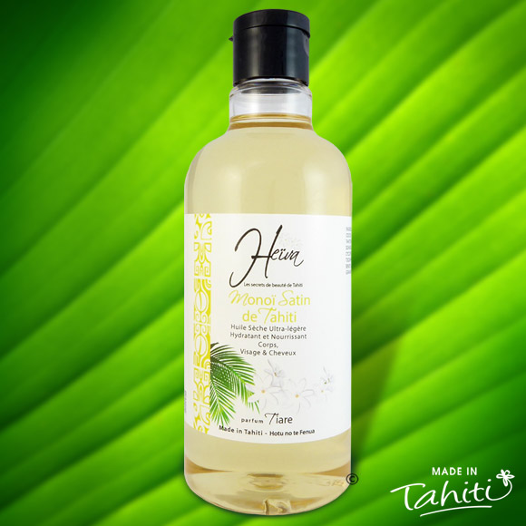Cette huile 100% Tahiti ultra légère pour les peaux délicates et très fines, pénètre rapidement la peau pour la satiner sans effet de gras résiduel. Ce Monoï Satin contient 50 % de Monoï de Tahiti Appellation d'Origine.