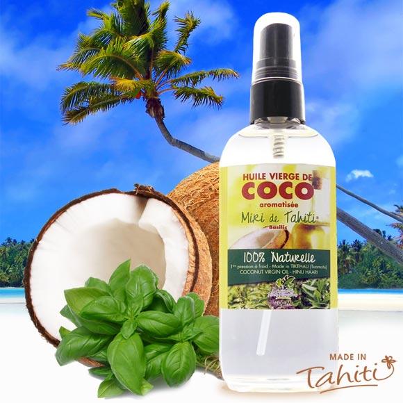 La Boutique du Monoï a sélectionné pour vous cette huile extra vierge de coco fabriquée à Tikehau (Archipel des Tuamotu) et raomatisée au basilic sauvage de Tahiti par le Comptoir des Plantes Polynésiennes.