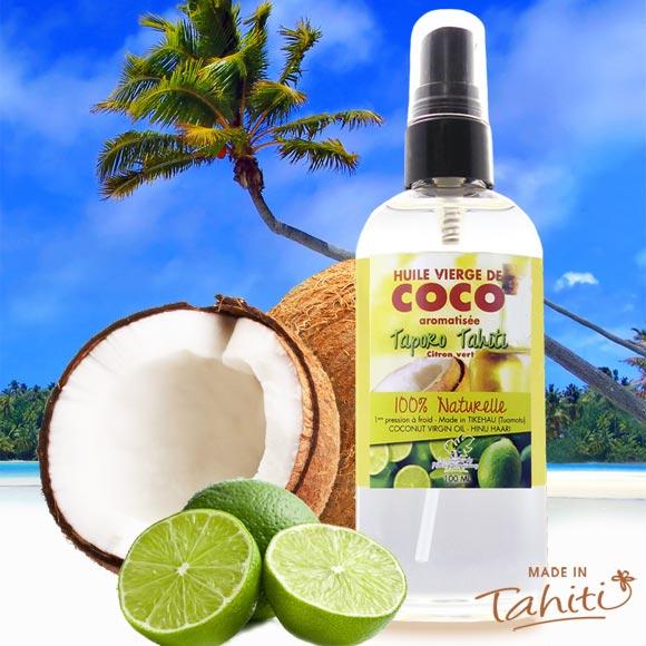 La Boutique du Monoï a sélectionné pour vous cette huile extra vierge de coco fabriquée à Tikehau (Archipel des Tuamotu) et raomatisée au citron vert de Tahiti par le Comptoir des Plantes Polynésiennes.