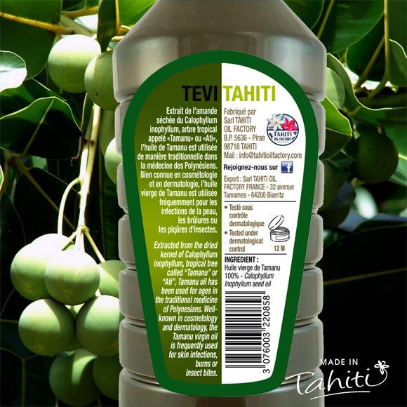 HUILE VIERGE DE TAMANU TAHITI TEVI RAIATEA 1 LITRE