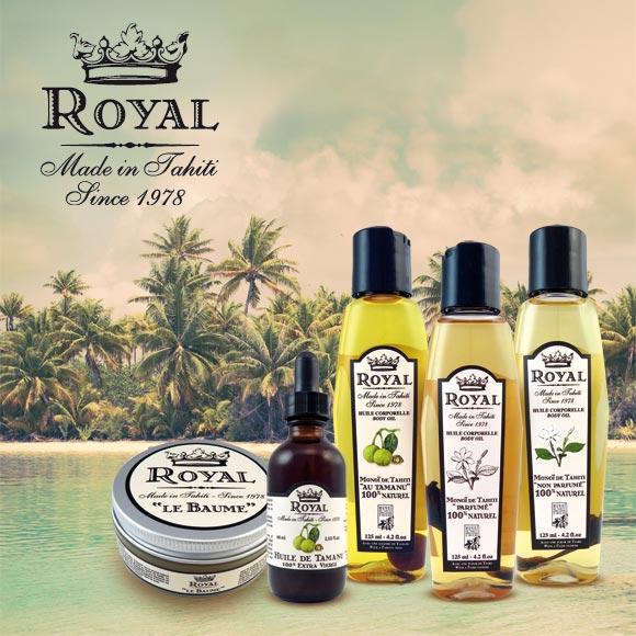 La Gamme 100% naturelle Royal Made in Tahiti est élaborée par Tahiti Oil Factory.