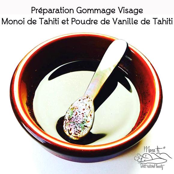 Exemple de préparation Homemade d'un Gommage Visage Polynésien Mana Iti au Monoï de Tahiti naturel mélangé avec de la poudre de Vanille...