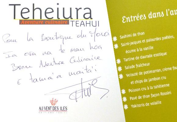 Teheiura a tenu sa promesse : son livre est distribué aussi dans La Boutique du Monoï.