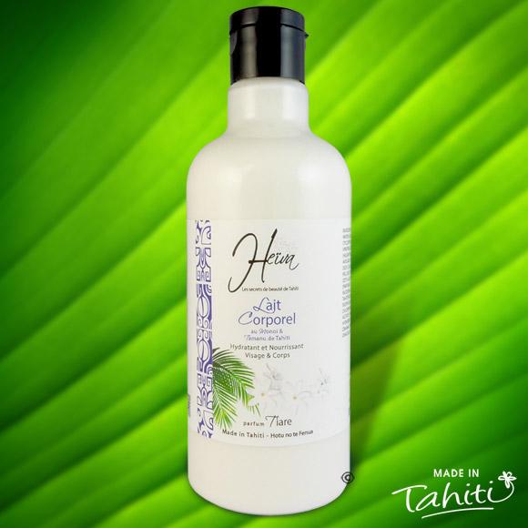 Ce lait corporel parfumé à la Fleur de Tiare Tahiti est enrichi de 2 % de Monoï de Tahiti Appellation d'Origine et d'extraits végétaux de Tahiti comme le célèbre Tamanu.