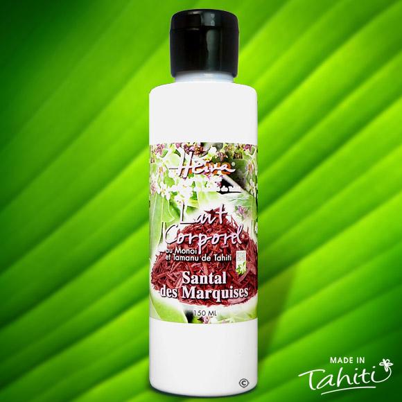 Ce lait corporel au Santal des Marquises est enrichi de 2 % de Monoï de Tahiti Appellation d'Origine et d'extraits végétaux de Tahiti comme le célèbre Tamanu.