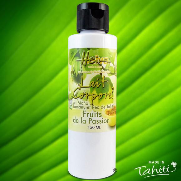 Ce lait corporel parfumé aux Fruits de la Passion fabriqué à Tahiti est enrichi de 2 % de Monoï de Tahiti Appellation d'Origine et d'extraits végétaux de Tahiti comme le célèbre Tamanu.